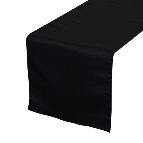 14 x 108 inch L'amour Satin Table Runner Black