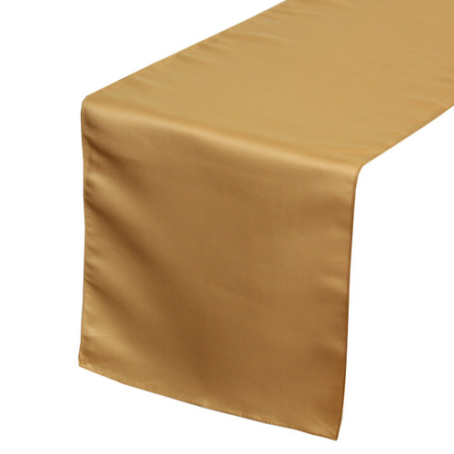 14 x 108 inch L'amour Satin Table Runner Gold