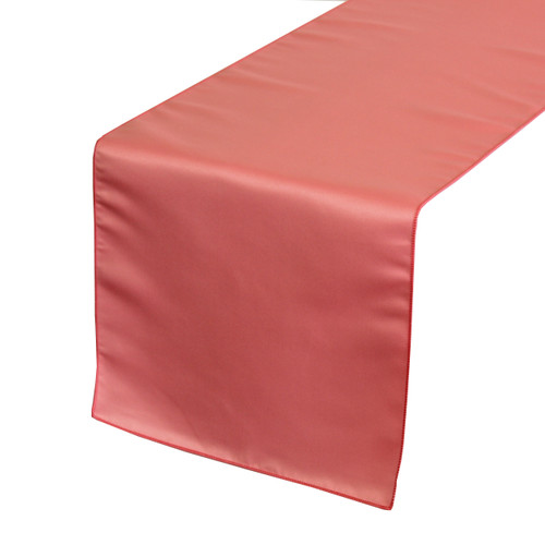 14 x 108 inch L'amour Satin Table Runner Coral
