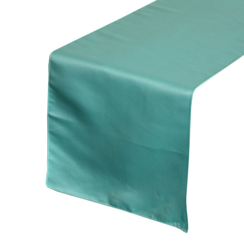 14 x 108 inch L'amour Satin Table Runner Turquoise