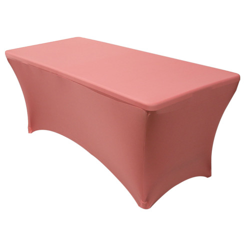 Stretch Spandex 6 Ft Rectangular Table Cover Coral