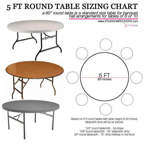 Crinkle Taffeta Wedding Tablecloths. How to Buy Tablecloths for 5 ft Round Tables? Use this Tablecloth Sizing Guide, a quick and easy printable table cloth sizing chart. 120 inch round table linens will fully drape a 5 ft round table or 60 inch. Check the image for your other table cover measurement options.