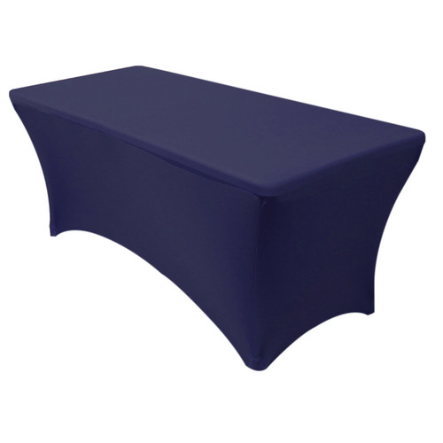Stretch Spandex 8 ft Rectangular Table Covers Navy Blue