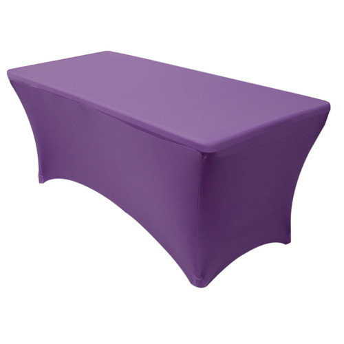 Stretch Spandex 8 ft Rectangular Table Cover Purple