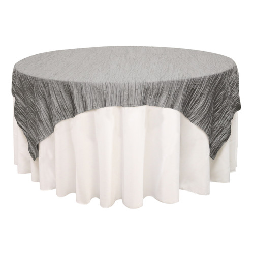 72 inch Square Crinkle Taffeta Table Overlay Dark Silver / Platinum