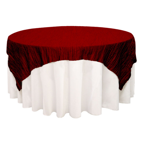72 inch Square Crinkle Taffeta Table Overlay Burgundy