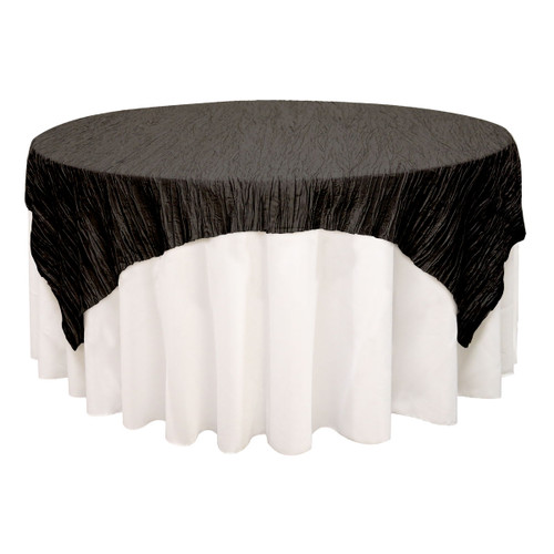 72 inch Square Crinkle Taffeta Table Overlay Black