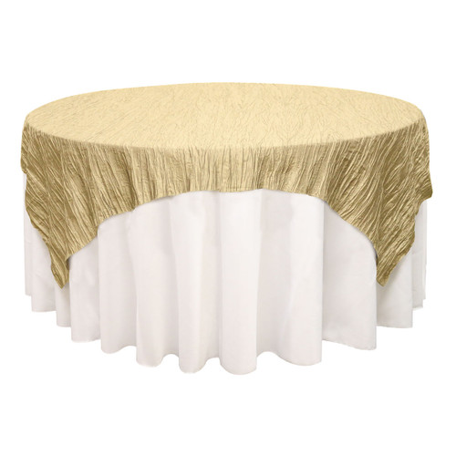72 inch Square Crinkle Taffeta Table Overlay Champagne