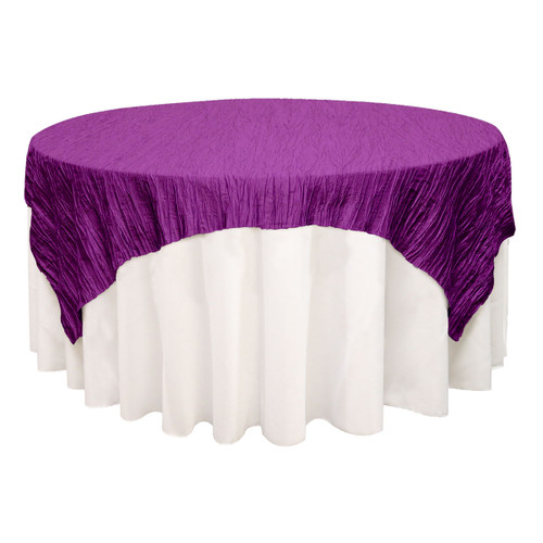 72 inch Square Crinkle Taffeta Table Overlays Purple