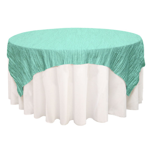 72 inch Square Crinkle Taffeta Table Overlay Tiffany