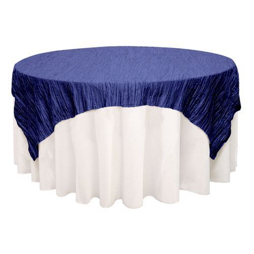 72 inch Square Crinkle Taffeta Table Overlay Navy Blue