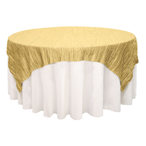 72 inch Square Crinkle Taffeta Table Overlay Gold