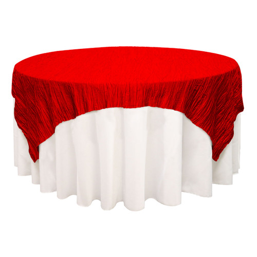 72 inch Square Crinkle Taffeta Table Overlay Red