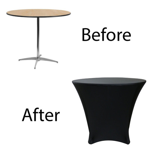 before after picture of lowboy cocktail table cover