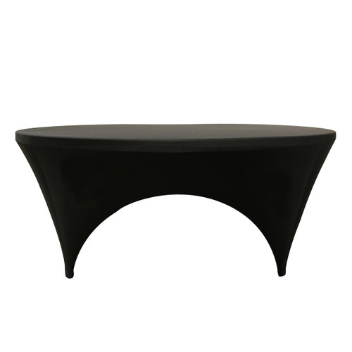 Stretch Spandex 6 ft Round Sides Open Table Cover Black