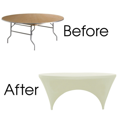 Stretch Spandex 6 ft Round Sides Open Table Covers Ivory Before After