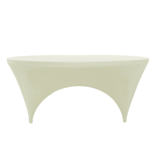 Stretch Spandex 6 ft Round Sides Open Table Cover Ivory