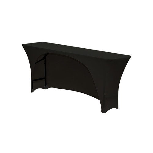 Spandex 6 Ft x 18 Inches Open Back Rectangular Table Cover Black