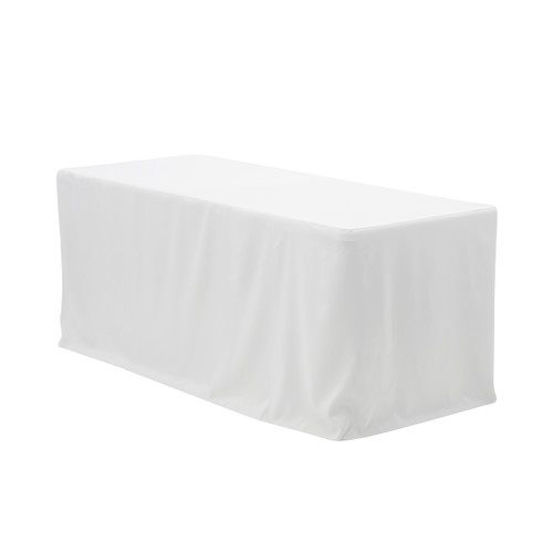 6 ft. Fitted Polyester Tablecloth Rectangular White