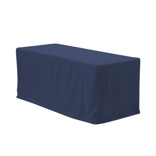 6 ft. Fitted Polyester Tablecloth Rectangular Navy Blue