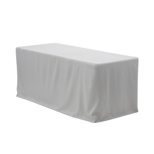 6 ft Fitted Rectangular Polyester Tablecloth Gray