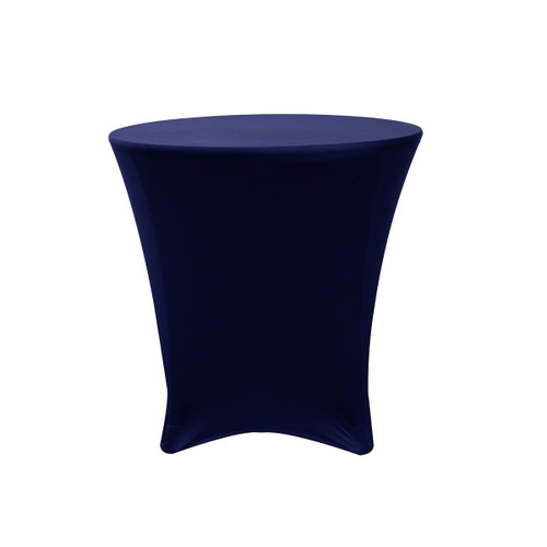 30 x 30 inch Lowboy Cocktail Round Stretch Spandex Table Cover Navy Blue