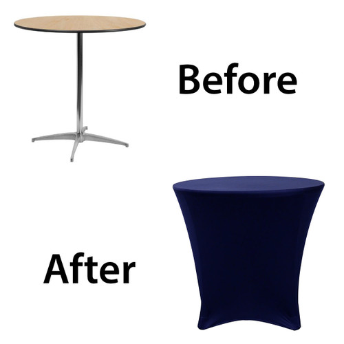 30 x 30 inch Lowboy Cocktail Round Stretch Spandex Table Covers Navy Blue Before After