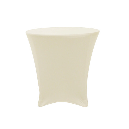 30 x 30 inch Lowboy Cocktail Round Stretch Spandex Table Covers Ivory