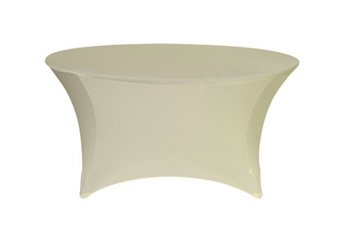 Stretch Spandex 5 ft Round Table Cover Ivory