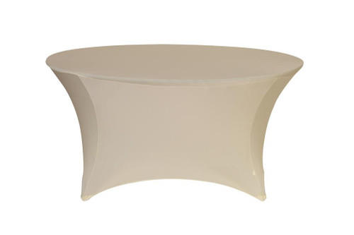Stretch Spandex 6 ft Round Table Cover Ivory