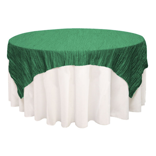 72 inch Square Crinkle Taffeta Table Overlay Hunter Green