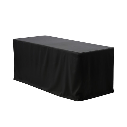 4 FT X 24 Inches Fitted Polyester Tablecloth Rectangular Black