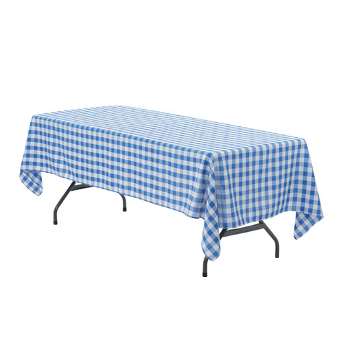 60 x 102 inch Rectangular Polyester Tablecloth Checkered Royal Blue