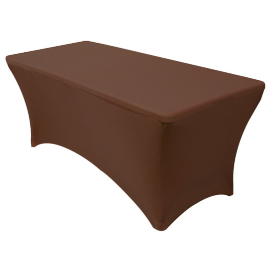 Stretch Spandex 8 ft Rectangular Table Cover Chocolate Brown