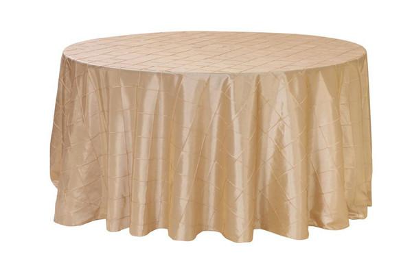 120 Inch Pintuck Taffeta Round Tablecloths Champagne