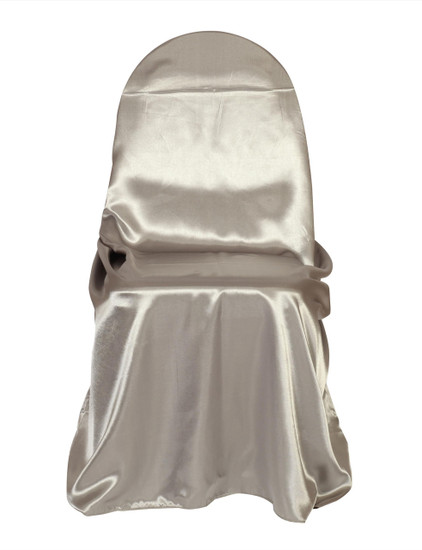Satin Self Tie Universal Chair Cover Dark Silver