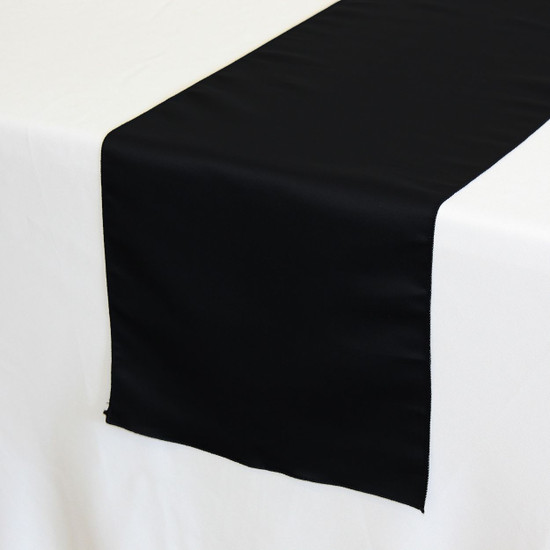 14 x 108 inch L'amour Satin Table Runner in Black on a white tablecloth