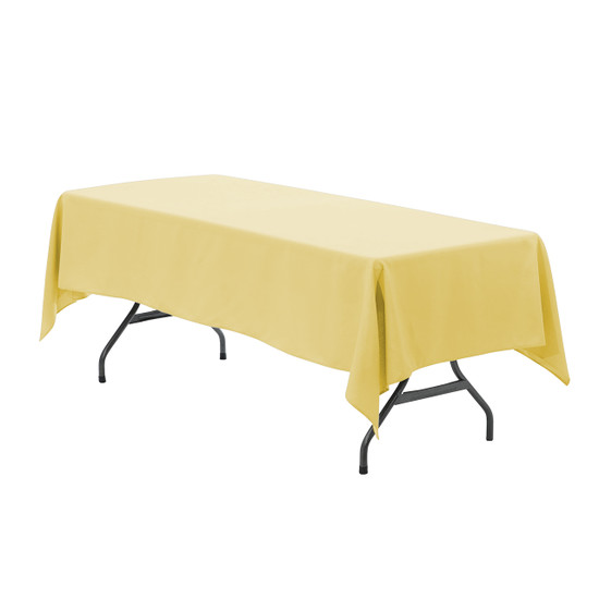 60 x 102 inch Rectangular Polyester Tablecloth Pastel Yellow