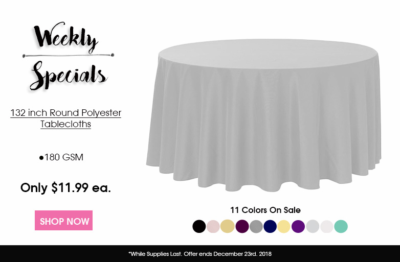 Polyester 132 inch Round Tablecloths
