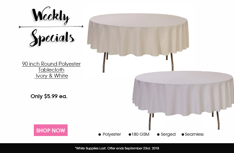 90 Inch Round Polyester Tablecloths
