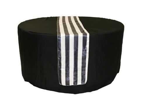 14 X 108 Inch Satin Table Runner Black White Striped