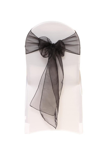 Organza Sashes Black Pack Of 10 Your Chair Covers Inc