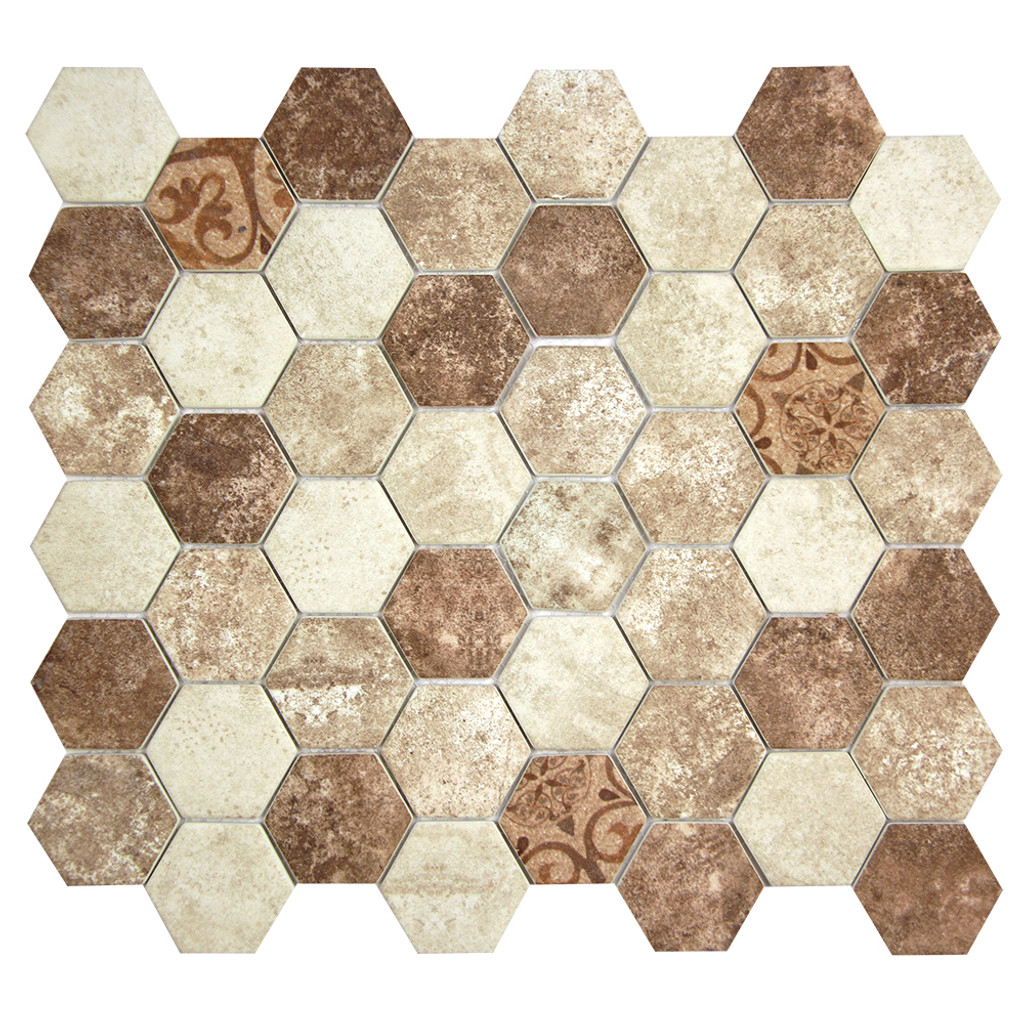 Hexacycle Tan Noce Hexagon Recycled Glass Tile