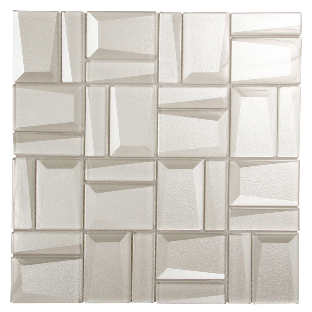 Prism White Geometric Mosaic Glass Tile