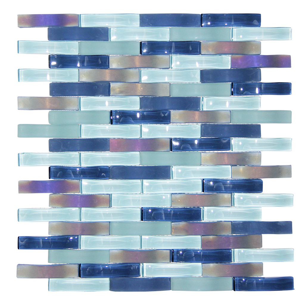 Ripple Stream Wavy Mosaic Glass Tile