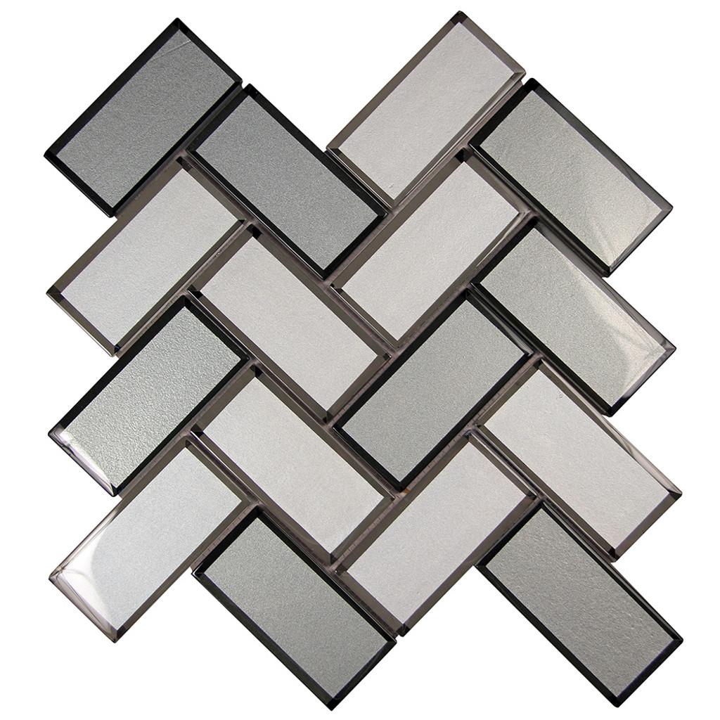 Mirror Mix Herringbone Mosaic Glass Tile