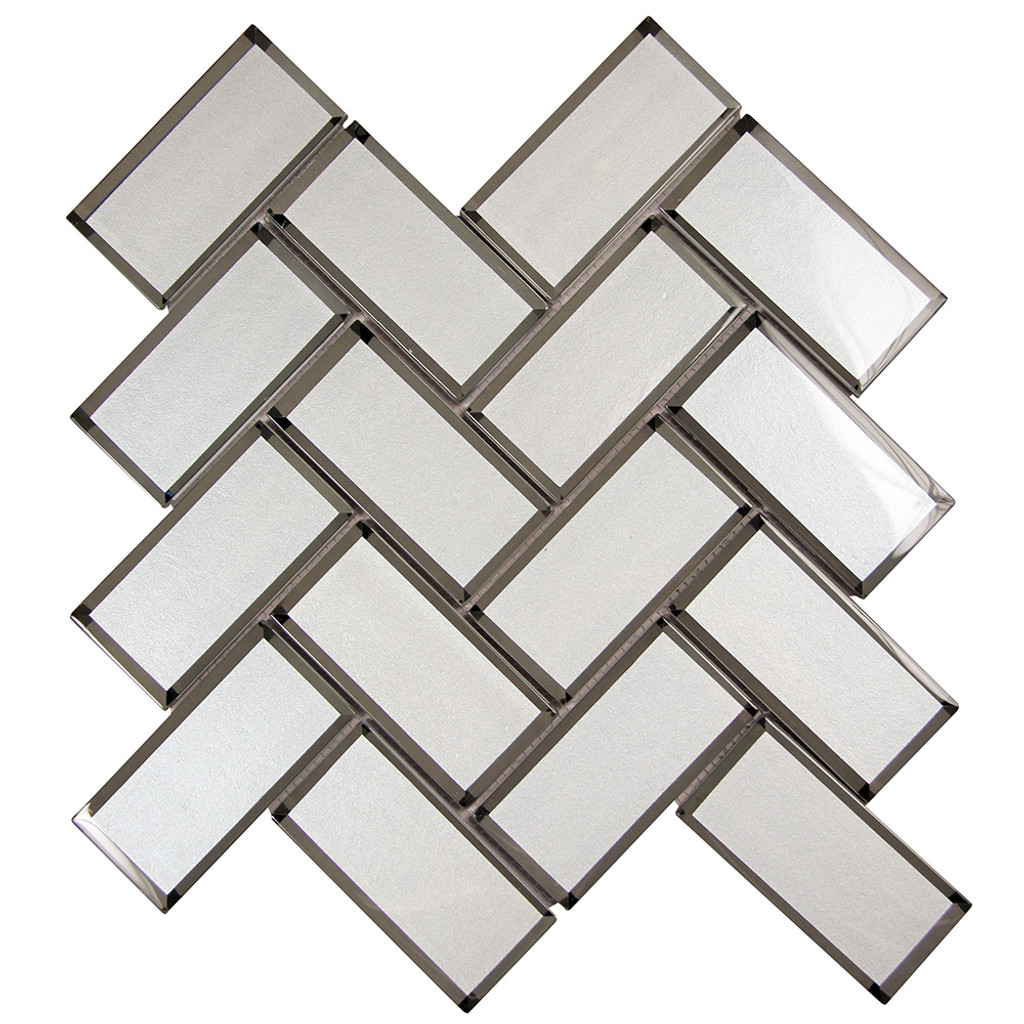 Mirror White Herringbone Mosaic Glass Tile