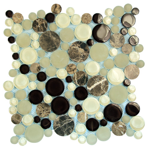 Agata Circle Emperador backsplash Mosaic Glass Tile
