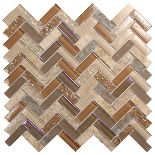 Archery Tan Herringbone Mosaic Glass Tile