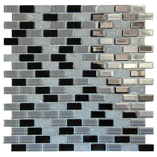 Basic Cross Black Mosaic Glass Tile